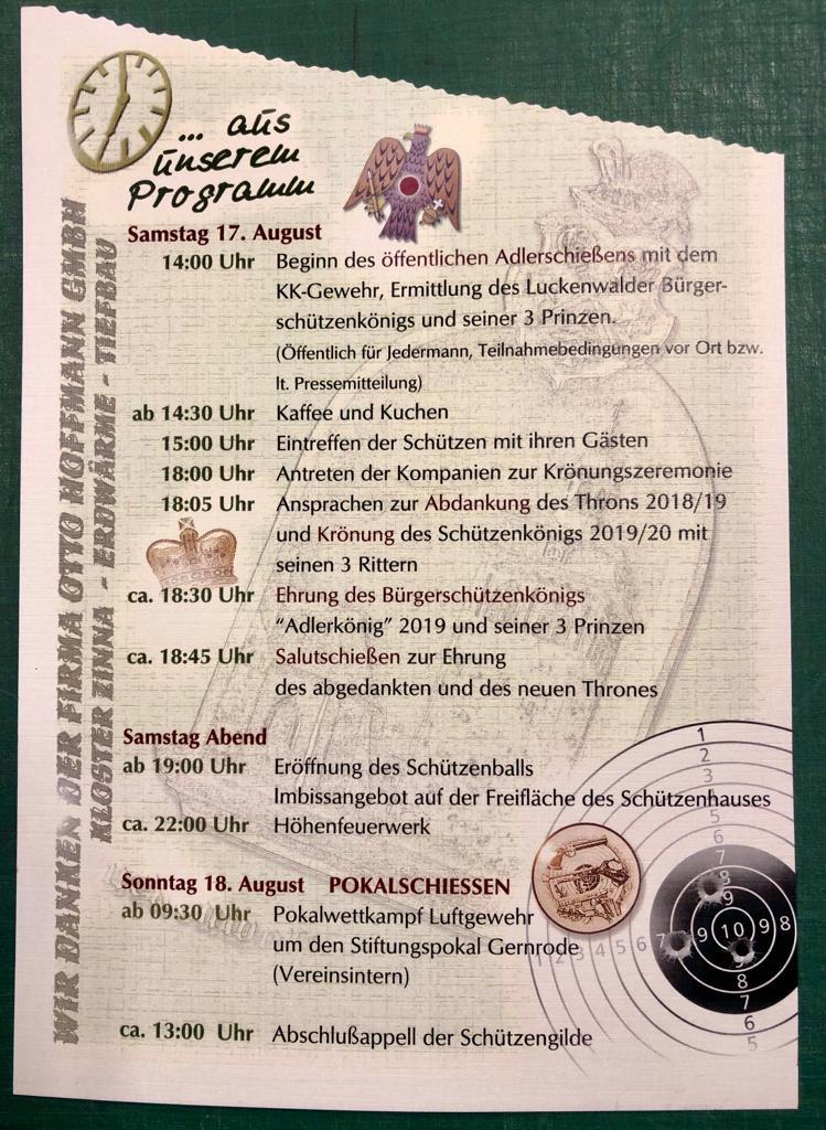 Programmblatt zum Schützenfest